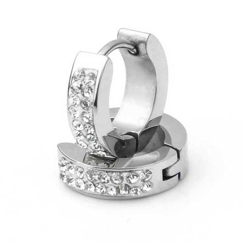 Ecloud Shop® Pair Men Stainless Steel Rhinestone Huggie Hoop Stud Earrings 0.55x0.16