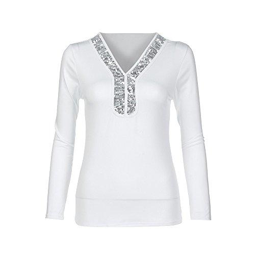 d2b8ca129700 SCHOLIEBEN Pailletten Top Damen T Shirt Bluse Schwarz V Ausschnitt Lang  Langarm Transparent Elegant Winter Party Frauen Sommer Eng Trägerloses