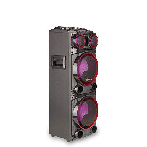 NGS Wild Punk 1- Altavoz Bluetooth con Doble Subwoofer, Efecto de Luces, Varias potencias 700W y 1000W, con entradas SD, USB, AUX IN y Radio FM, (300W)