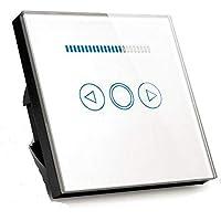 Interruptor regulador de luz led de 500W con pantalla de cristal templado táctil (norma europea), Blanco