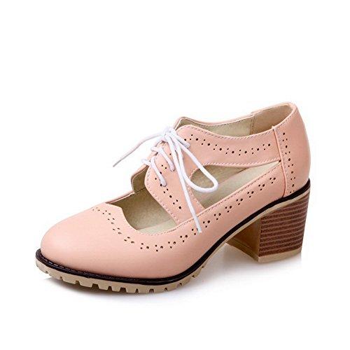 VogueZone009 Donna Luccichio Punta Tonda Tacco Medio Tirare Colore  Assortito Ballet-Flats Rosa