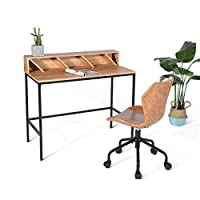 Ihouse Modern Computer Desk Writing Table with Storage Shelves Office Home Workstation Wooden Board Metal Legs for Study Laptop, Style A