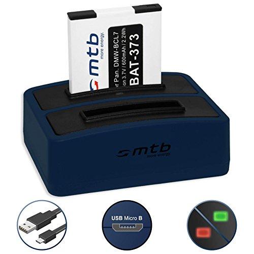 Akku + Dual-Ladegerät (USB) für DMW-BCL7, BCL7E / Panasonic Lumix DMC-F5, FH10, FS50, SZ3, SZ8, SZ9, SZ10, XS1, XS3 (inkl. Micro-USB-Kabel)
