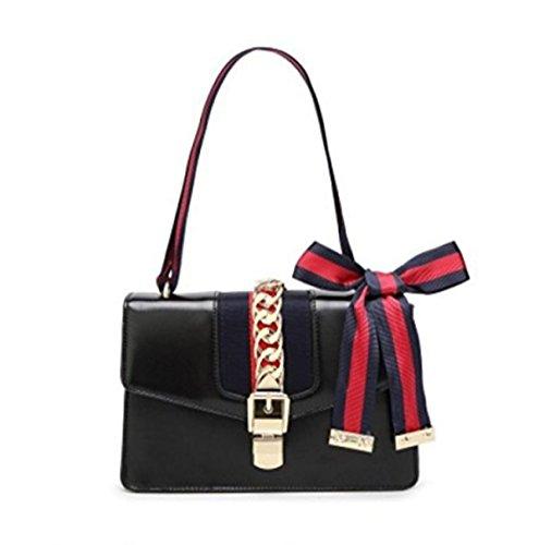GSHGA Frauen Echtes Leder Handtaschen Mode Einzigen Schulter Crossbody Satin Tasche,Black (Gucci Tasche, Tasche Schulter)