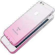 Pridot Gradient Colour TPU Funda Case for iPhone 6s / 6 Ultra Thin Carcasa Anti Slip Soft Bumper Scratch Resistant Back Cover Crystal Clear Flexible Silicone Case - Rosa Claro
