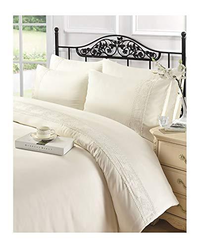 MA ONLINE Luxuriöses Charlotte Spitzen-Bettbezug-Set für Einzelbett, Doppelbett, King-Size, Super-King-Size-Bett, Cream King, King Size - Kingsize-bettbezug-bett