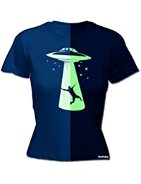 LADIES GLOW IN THE DARK UFO - NEW PREMIUM FITTED T SHIRT (VARIOUS COLOURS) - by 123t Slogans