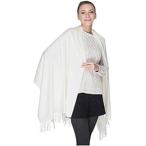LSERVER-Écharpe Chale Femme Cachemire Chaud Automne Hiver Grande Foulard, Blanc
