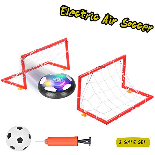 Ulikey Pallone da Calcio da Casa Fluttuante, Air Football Calcio da Interno Hover Ball, LED Lampeggiante Ball con 2 Porte Training Football, Giocattoli Sportivi per Bambini Natale Regalo