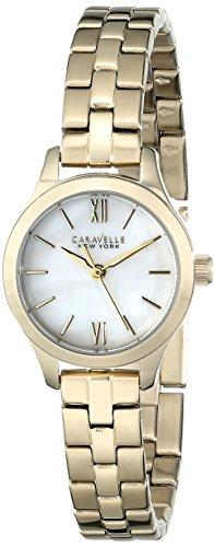 Caravelle New York 44L155 - Reloj de Pulsera Mujer, Acero Inoxidable, Color Amarillo