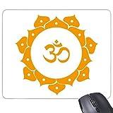 Buddhismus-Religions-buddhistische gelbe Lotos Sanskrit-asymetrisches Abstraktes rundes Illustrations-Muster-Rechteck-Rutschfeste Gummi Mousepad Spiel-Mausunterlage