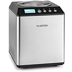 Klarstein Vanilla Sky • Machine à glace • Machine à crème glacée • 135 W • 2 litres de contenance • Fonction maintien au frais • Minuterie • Temps de préparation 30-40 min • Écran LED intégré • Argent