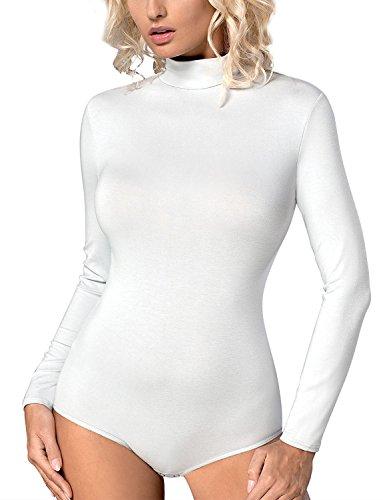 Vestiva BD 023 Klasischer Body, Verschluss Im Schritt, Langarm, Rollkragen, Top Qualität, EU, weiß,S (Top Rollkragen Weißer)