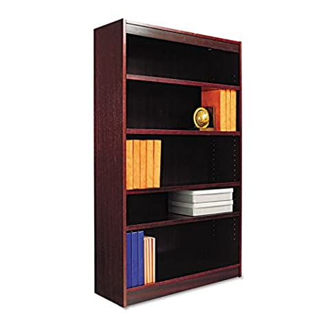 Square Corner Wood Veneer Bookcase, 5-Shelf, 36w x 11-3/4d x 60h, Mahogany, Sold as 1 Each