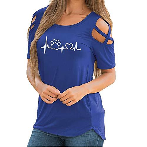 LANSKIRT_Blusa de Fiesta de Mujer Elegantes Camisa de Verano Mujer Corto Camiseta de Manga Corta con Estampado de Mangas Cortas para Mujeres en Verano Tops Blusa t Shirt