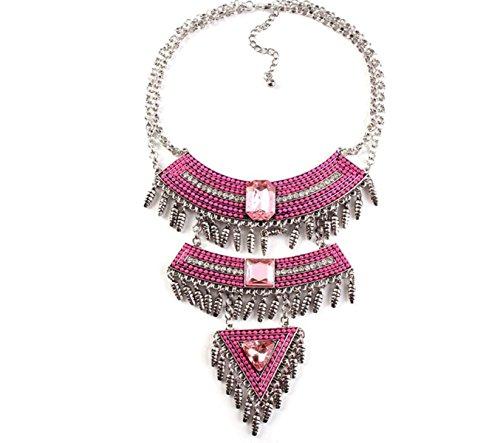 nigten Staaten Mode Diamant Cluster Damen Halskette,Pink-M ()