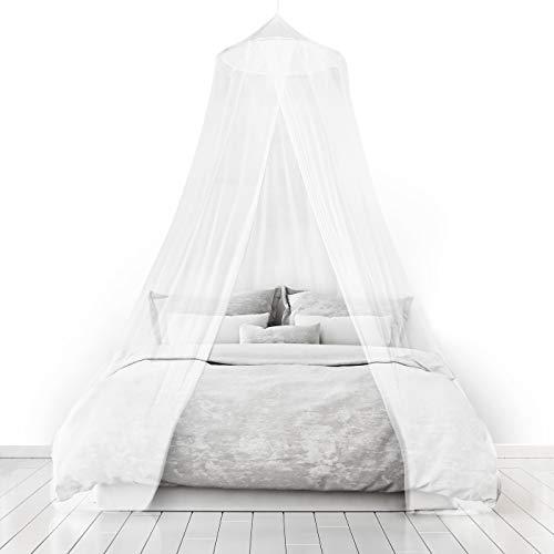 Home and More Store Ltd Moustiquaires 4 U blanc moustiquaire ciel de lit pour vacances et d'accueil Pleine couverture 12 mètres Jusqu'à Kingsize Irritation de la peau non Sac de Voyage Gratuit