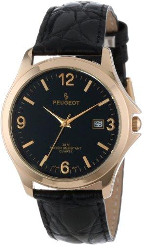 Peugeot Hommes 2035 ronde d'or-ton bracelet en cuir noir et de montres cadran noir