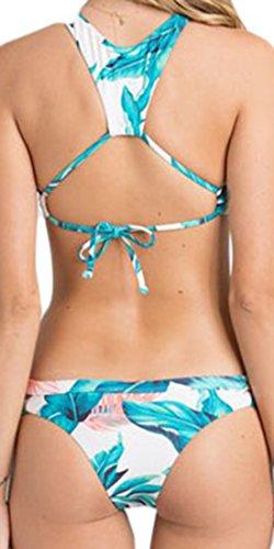 erdbeerloft - Damen Floral Gemusterter High Neck Bikini, XS-XL, Viele Farben Grün