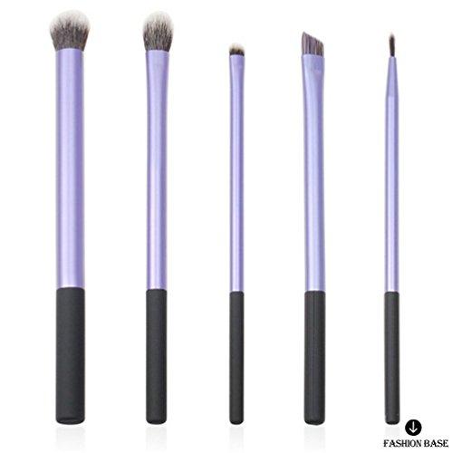 Fashion Base Lot de 5 pinceaux de maquillage professionnel Poils synthétiques Pour lèvres, fard à paupières, poudre Violet