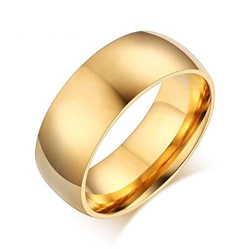 ERDING Unisex/Verlobungsring/Freundschaftsring/8mm Basic Ehering für Männer Gold- und Silberton Edelstahl US-Größe Männerschmuck