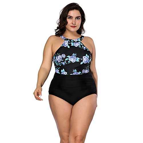 FeelinGirl Damen Badeanzug Bademode Bauchweg Print Flower Beach Bikini Set Tankini Oberteile Top Plus Size XXL Violett