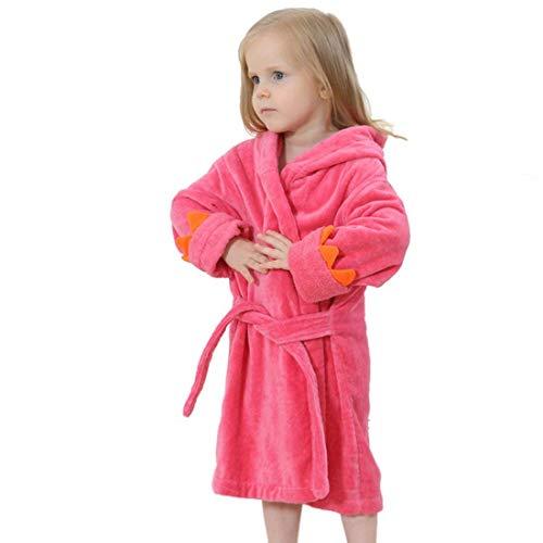 GWELL Kinder Baby Bademantel mit Kapuze Badetuch Kapuzenhandtuch Schlafanzug Nachtwäsche aus Samt Tier Dinosaurier Motiv für Mädchen Jungen Rot 3-6 Jahre