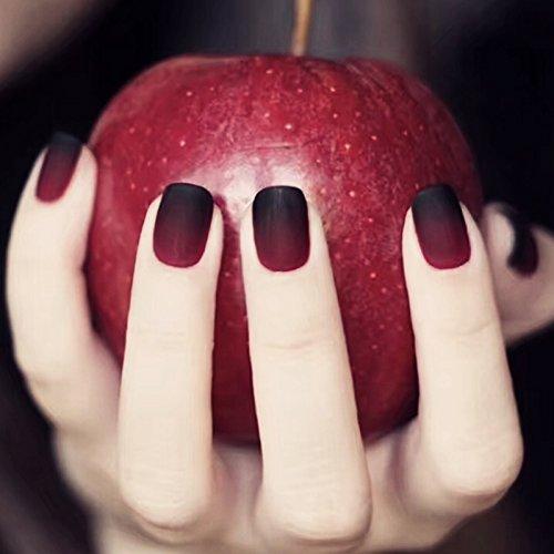 2412verschiedenen Größe Christmas Style-dunkel Fairytale Apple Farbverlauf schwarz rot matt Short Square Full Cover False Nägel mit Design