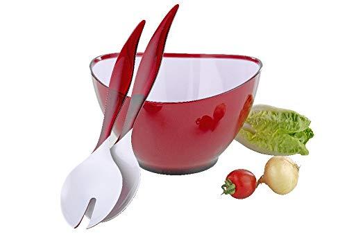Esmeyer Set Wing Salatschüssel, Kunststoff, rot, 23 cm (Grosse Schüssel Salat Kunststoff)