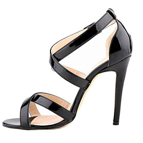 Cross Damen Kleid Thin Strap 35 lackleder Schnalle 001 46 Schuhe Sandalen Schwarz Eu Merumote J wZqxIIA