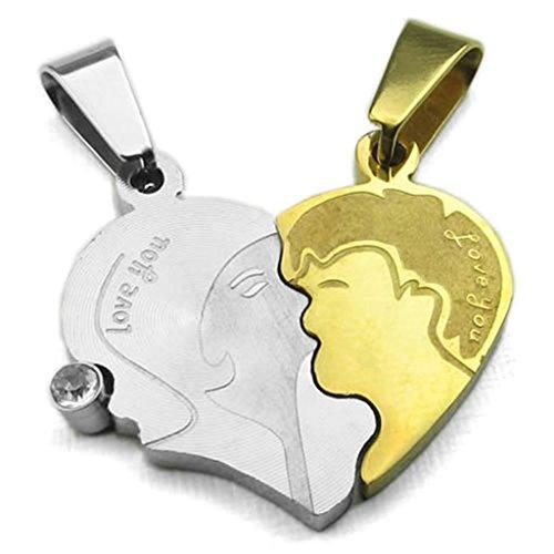 Daesar Collane Acciaio Inossidabile Pendenti Di Collana Uomo Ciondolo Collana Argento Oro Kissing Coppia