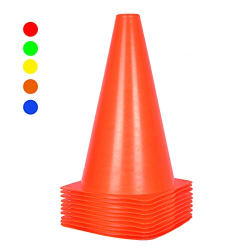 10 Stück Leitkegel Pylonen für Kinder - 22,9 cm orange Field Marker Zapfen für Outdoor-Aktivitäten & festliche Veranstaltungen