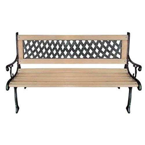 Gartenbank mit Rückenlehne mit Motiv nostalgisch Holz und Metall