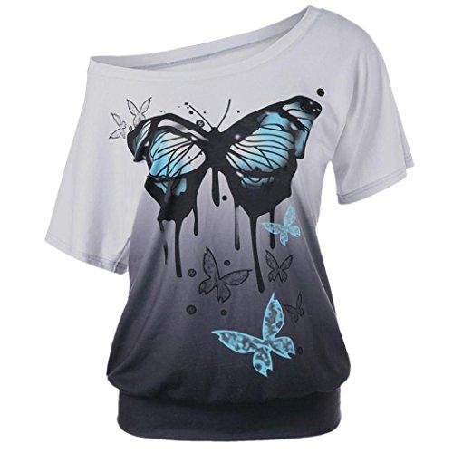 SEWORLD 2018 Damen Mode Frauen Sommer Herbst O-Ausschnitt Übergröße Frauen Schmetterling Drucken T-Shirt Kurzarm Tops Bluse(Grau,EU-44/CN-XL) -