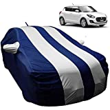AllExtreme SF7005 Car Body Cover for Maruti Suzuki Swift Custom Fit Dust UV Heat Resistant for Indoor Outdoor SUV Protection (Blue-Silver with Mirror)