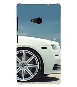 WHITE LUXURIOUS CAR SIDE VIEW 3D Hard Polycarbonate Designer Back Case Cover for Nokia Lumia 535 :: Microsoft Lumia 535