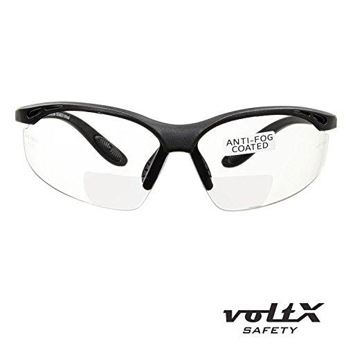 voltX 'CONSTRUCTOR' BIFOKALE Schutzbrille mit Lesehilfe CE EN166F zertifiziert/Sportbrille für Radler (KLAR +2.5 Dioptrie) enthält Sicherheitsband – Bifocal Safety Glasses