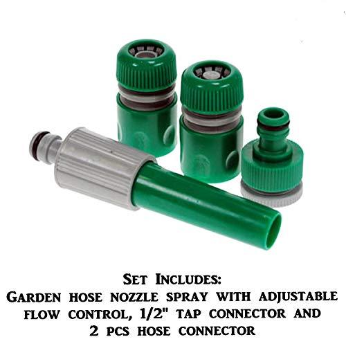 Diech verstärkter PVC-Schlauch mit Düsen und Armaturen, Rohrtrommel mit Schlauchanschluss-Kit für den Außenbereich. -
