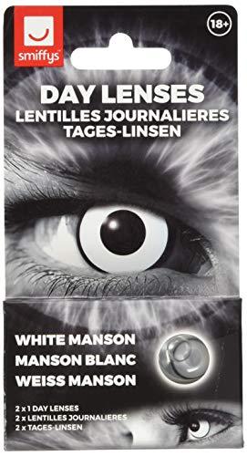 Smiffy's 47106 White Manson Tageslinsen weich, 2 Stück/BC 8.7 mm/DIA 14.5 mm / 0 Dioptrien