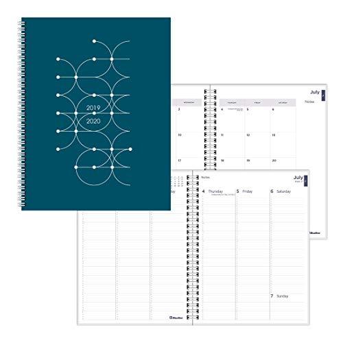 Wochenplaner/Monatsplaner, 13 Monate - Juli 2019 bis Juli 2020, Doppeldraht-Bindung, Geo-Design blau -