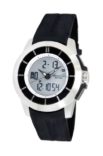 Kenneth Cole Men's Digital Watch with Black Dial Analogue - Digital Display and Black Silicone Strap KC1849
