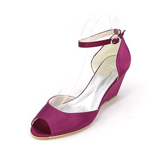 Ei&iLI Ouvrez Toe Shoes Boucle Wedge Robes de demoiselles d'honneur EU36-EU43 Women 'de Souliers de mariée en satin Black
