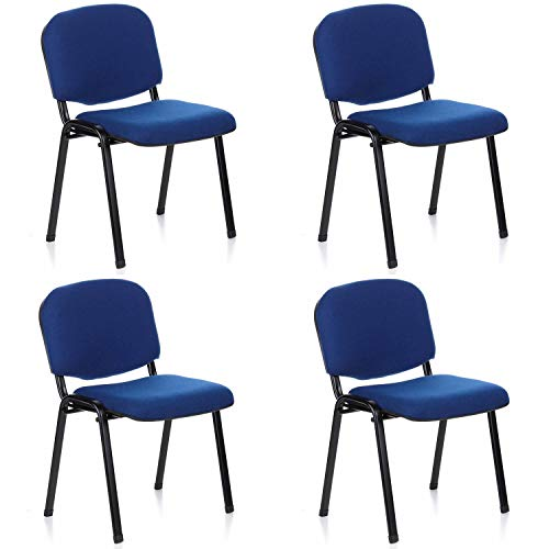Hjh office 704510 set 4 sedia visitatore / conferenza xt 600 stoffa nero / blu impilabile