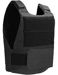 Pellor Gilet Tactique en tissu Oxford Garde de sécurité Gilet de protection CS Combat pour adulte Noir