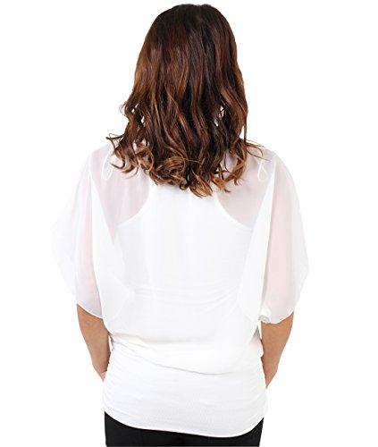 KRISP® Femmes Blouse Ample 2 en 1 Manches Chauve Souris Froncée Mousseline Crème (3559)