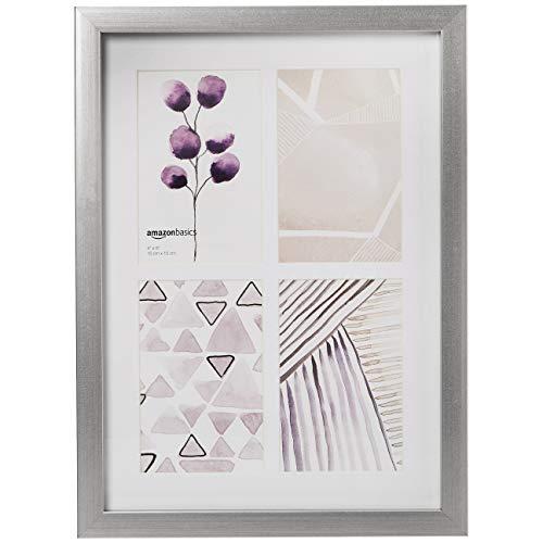 AmazonBasics - Collagen-Bilderrahmen für 4 Bilder (10 x 15 cm),Rahmengröße 122 x 183 cm, Nickelfarben