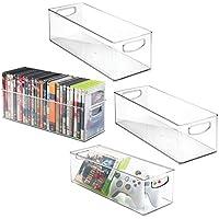 mDesign DVD Aufbewahrungsbox 4er-Set - DVD-Aufbewahrungssystem mit Griff - aus transparentem Kunststoff - Aufbewahrungsboxen für DVDs, CDs und Videospiele - 40,64 cm x 15,24 cm x 12,7 cm