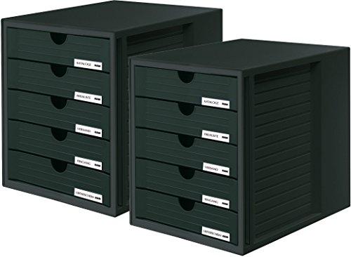 Schwarze Fünf Schubladen (HAN 1450-14 Schubladenbox SYSTEMBOX; Innovatives; attraktives Design mit 5 geschlossenen Schubladen (Schubladenbox geschlossen | 2er Set, schwarz))