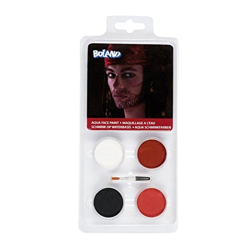 Pirate Facepaint Easy Travel Face Painting Kit Fancy Dress Set Make Up Paints 4 Colours Theatrical Stage Make-Up by Fancy Dress VIP (Peter Halloween-make-up Pan)