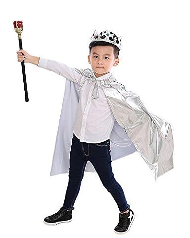 Halloween Kinder-Leistungskleidung Kleidung Prinz Prinzessin Umhang Der König Mantel Silber